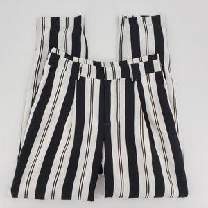 XOXO black & white striped high waisted pants 10
